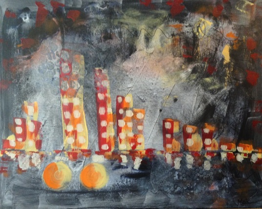 """Cycling The City Lights"" 24"" x 30"" $540"